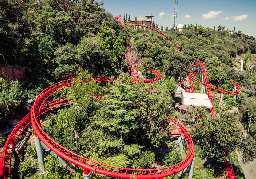roller coaster. Tibidabo. Barcelona.