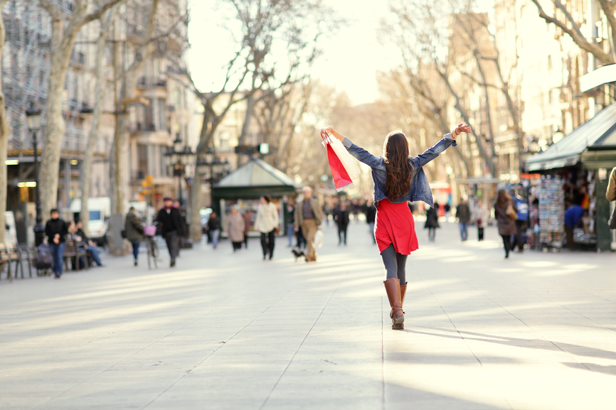 Barcelona, La Rambla shopping woman