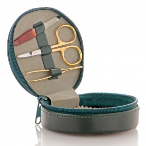 Small green leather travel care kit