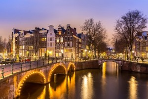 the city of amsterdam at twilight