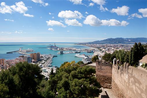 View from the Alcazaba, Moorish fortress, harbour, Castillo de Gibralfaro castle on Mount Gibralfaro, Malaga, Andalusia, Spain, Europe